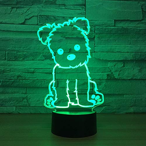 WEHOLY Night Light Home Study Dog Light 3D Night Light Jouets pour Enfants LED 3D Touch Table Lamp Flashing LED Lights Home Decorations Party Green