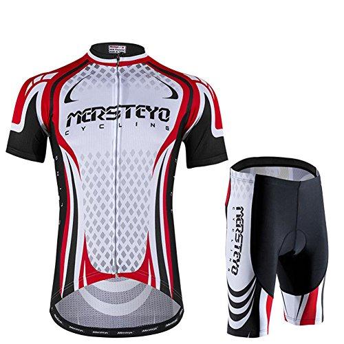 d.stil Herren Radtrikot Set Kurzarm mit Sitzpolster für MTB Rennrad Fahrrad Jersey + Rad Shorts Radsportanzug M - XXL (Rot-Weiß, XXL)
