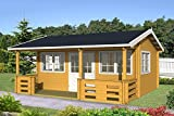 Casa para jardín RICHARD 70 de madera, 575 x 385 cm, 70 mm, casa vacacional