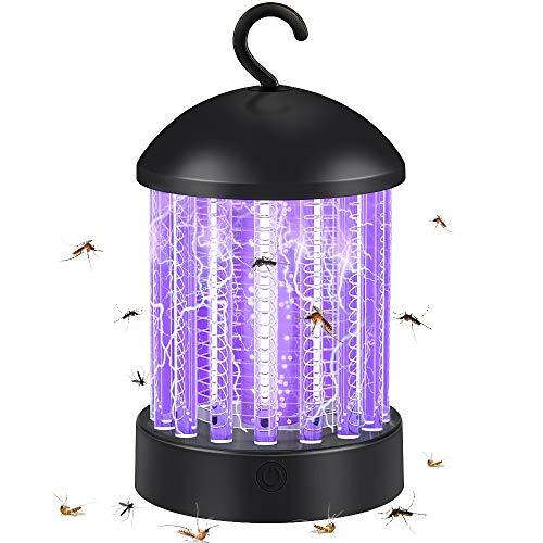 Hisome Lámpara Antimosquitos Eléctrico UV, Portátil 2 en 1 Lámpara Camping y Noche Lámpara LED Mosquito Lámpara Trampa USB Recargable Silencios