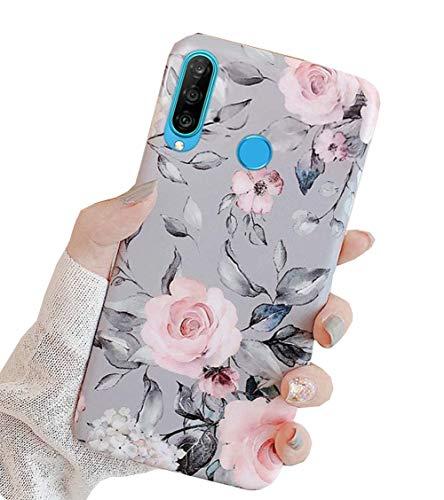 Karomenic Silikon Hülle kompatibel mit Huawei P30 Lite Ultradünn Schutzhülle Blumen Blatt Muster Weiche TPU Handyhülle Slim Soft Kratzfest Stoßfest Bumper Case Cover Tasche Schale,#1
