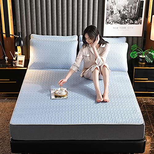 Cooling Latex Blanket Breathable Soft Cool Lightweight Summer Absorb Heat Bed Mat for Night Sleeping,Blue,150 * 200cm