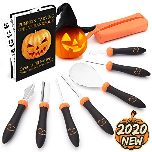 Upgraded 9 PCS Pumpkin Carving Kit Tools & Over 1000 Stencils Template Ebook for Kids & Adults with Carrying Case, Heavy Duty Stainless Steel Carving Knife Carver Set for Halloween Decorations