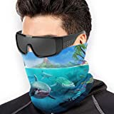 LONGYUU Hungry Shark World X iOS Android Shark Microfiber Neck Gaiter Womens Face Mask Bandana Costume Headwear Multi-Function for Winter Cold Weather Keep Warm For Mens Womens