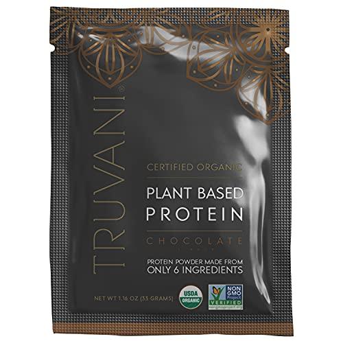 TRUVANI - Plant Based Protein Powder - USDA Certified Organic Protein Powder, Vegan, Non-GMO, Gluten Free Protein Powder - Chocolate (1 Serving (1 Pack))