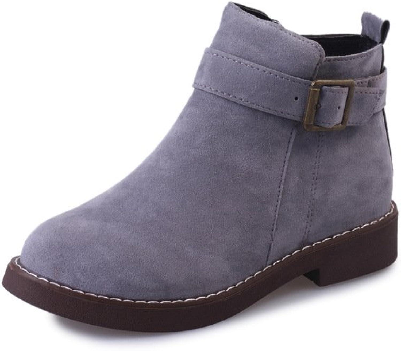 WYMBS Women's shoes Belt Buckle Round Head Short Boots,Black Cotton,38