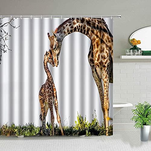 Animales africanos Elefante león Tigre Jirafa Cortina de Ducha Leopardo Lobo baño bañera Cortina Impermeable S.2 180x200cm