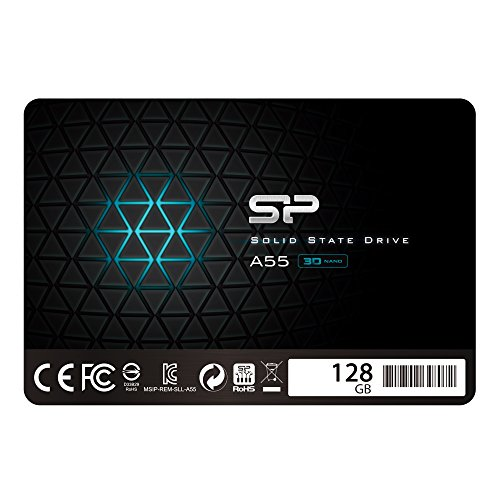 "Silicon Power SSD 128GB 3D NAND A55 SLC Cache Performance Boost 2,5 Zoll SATA III 7mm (0,28"") Interne SSD"