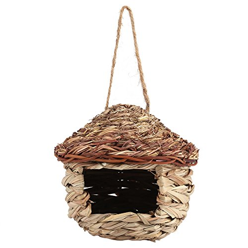Straw Bird Nest Birdhouse for Parrot Hamsters Small Animals Animals Cage Home Hanging Decor, Bird Nest Birdcage Rattan Straw Decorative Chain Hanging Basket Gardening (Decor M)