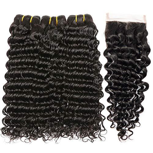 PF Hair Brésiliens Vierges Vague Profonde de Cheveux Bouclés 100% Cheveux Humains Naturels Deep Boucle Tissage Bresilien 3 Trames Avec 4 * 4 Fermeture 12 14 16 inch+ 10 inch Closure