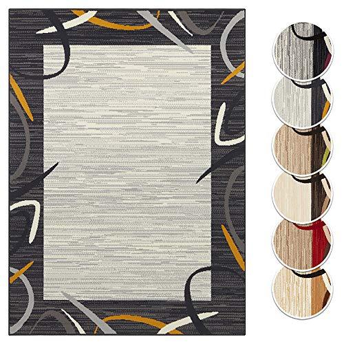 Tapeso Vloerkleed Retro Lijstmotief - Okergeel & Grijs, 120x160 cm | Modern voorjaars Tapijt