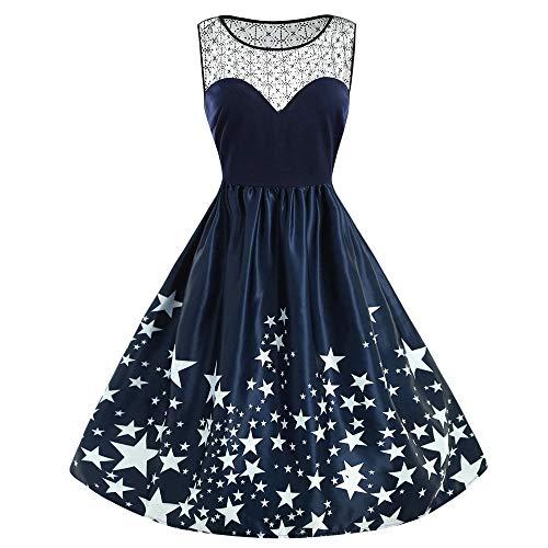MIRRAY Damen Jahrgang Abendkleider Brautkleid Lässige Armellose Spitze Patchwork Stern Drucken Vintage Kleid Partykleid Cocktailkleid