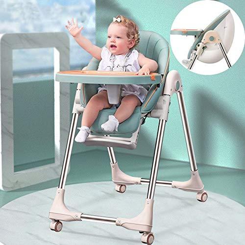 Fall Trona para Bebé, Silla de bebé Asiento de PU Silla Alta Rueda Mejorada Tubo Engrosado Silla de alimentación de Huevo Plegable Mesa Bebé Multifuncional