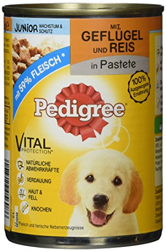 Pedigree Hundefutter Nassfutter Junior Geflügel & Reis in Pastete, 12 Dosen (12 x 400g)