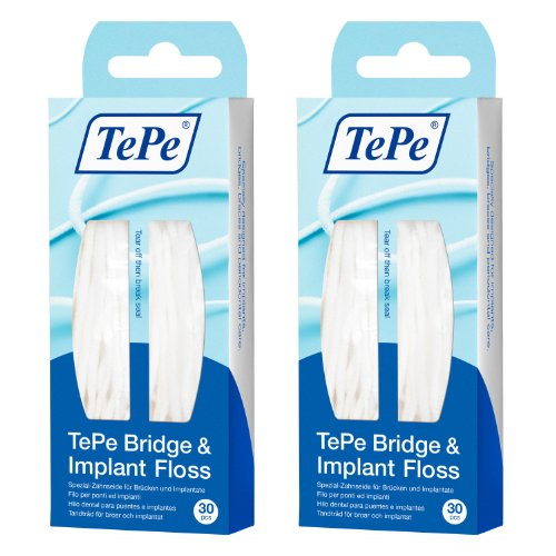 Tepe Bridge and Implant Floss - 2 Pack (60 Pieces) by TePe