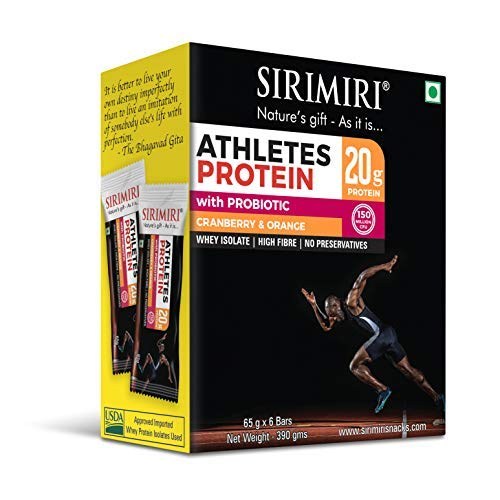 PROBIOTIC Athletes 20g Protein Bar - Cranberry Orange Pack of 6 (Each 65g) (First Probiotic Protein Bar in India)