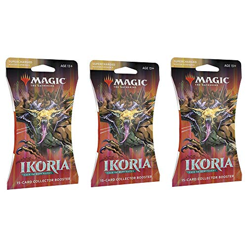 3 Packs Magic: The Gathering Sleeved Collector Booster Pack MTG Ikoria Lair of Behemoths Size Card Sleeves Individual Pack