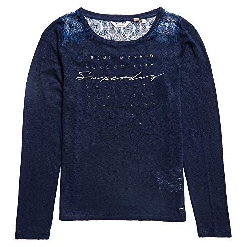 Superdry Lace Back Graphic Top Rinsed Navy (XL)
