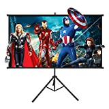 Projector Screen with Stand, Powerextra 100 inch 16:9 HD 4K Indoor Foldable Projection Screen with Frame, 1.1Gain 160° Viewing Angle Wrinkle-Free Tripod Screen for Movie or Office