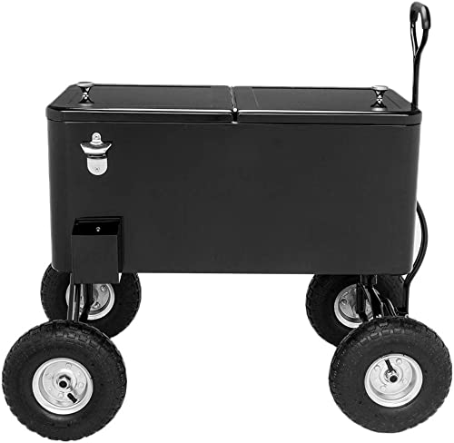 VINGLI 80 Quart Portable Rolling Ice Chest for Yard or Party, with Shelf, Pool with Bottle Opener and Holster
