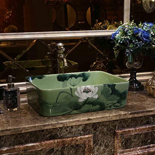 Hiwenr Rechthoekige Europa Stijl wastafel wastafel Jingdezhen Art Ink Lotus Counter Top Keramische Badkamerwastafel Keramische Art Wassen Basin Voor Badkamer