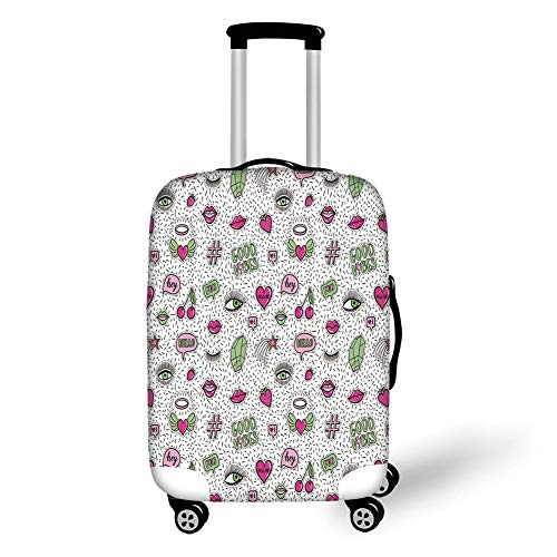 Travel Luggage Cover Suitcase Protector,Good Vibes,Eighties Nineties Style Pattern Eyes Lip Star Strawberry Cherry Pop Art,Pink Green Black,for Travel,L