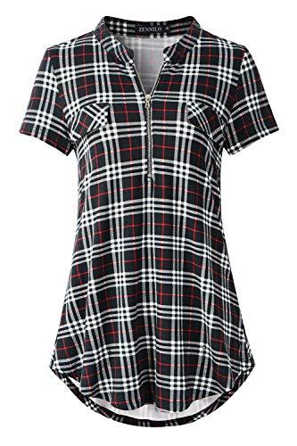 ZENNILO Women's Shirt Zip Plaid V Neck Short Sleeve Casual Summer Tunic Tops Blouse