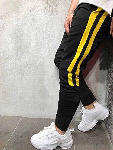 SHYSBV jogger jogger mannen Causal Pants Meslim joggingbroek Streetwear mannen katoen Fitness joggingbroek broek X-Large zwart geel