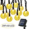 Upgraded Globe Solar String Lights, 39Ft 60 LED 8 Modes Waterproof Bulb Solar Fairy Patio Lights for Patio, Lawn, Porch, Gazebo, Bistro (Warm White)
