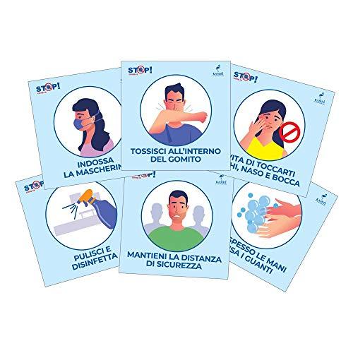 Pack OFFICE - 6 Cartelli Adesivi Covid 19 Regole di Sicurezza per Uffici e Negozi - Dimensione 13,5x13,5 cm - Kamiustore