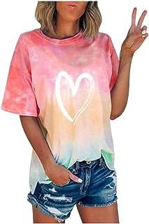 MITCOWBOYS Summer Tops for Women Plus Size Tie Dye Shirts Teens Fashion Color Block Gradient Crewneck T Shirt
