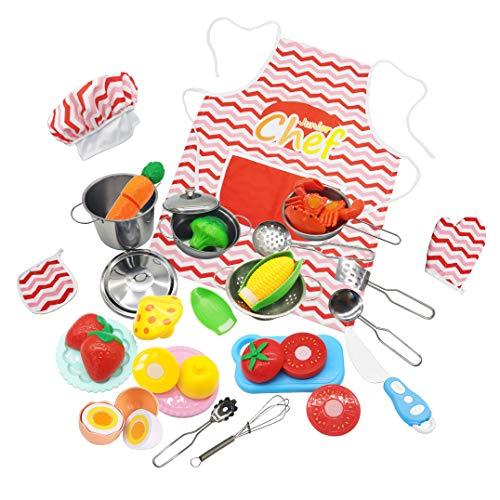 HapeeFun Juguetes de Cocina Set con Bolsa para Niños 27PCS Juguetes de Chef Infantil con Inoxidable Utensilios, Frutas y Vegetales para Cortar, Kit de Delantal,Regalos de Fiestas, Cumpleaños, Navidad