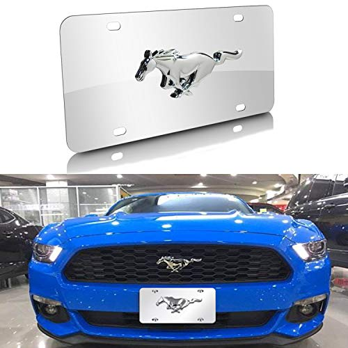 Mustang 3-D Pony Metal Logo Silver Mirror Stainless Steel Front License Plate Cover,with Screw Caps Cover Set Suit, for Ford Mustang.