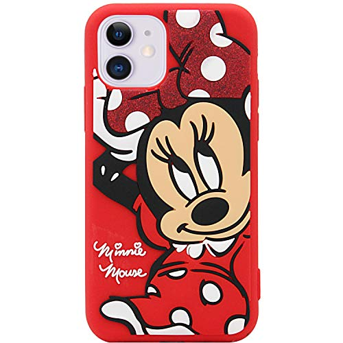 MC Fashion iPhone 11 Case, Cute 3D Cartoon Shockproof Case, Full-Body Slim Fit Protective Soft Silicone Case for iPhone 11 6.1 inch 2019 (Minnie Mouse)