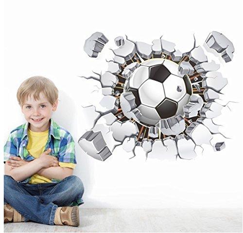 Fußball-Aufkleber, 3D Fußball-Wand-Aufkleber Fußball, der durch Wand-Vinylwand-Abziehbildaufkleber PVC-resuable Wand-Abziehbild-Abziehbilder für Fußballfangeschenk durchbricht