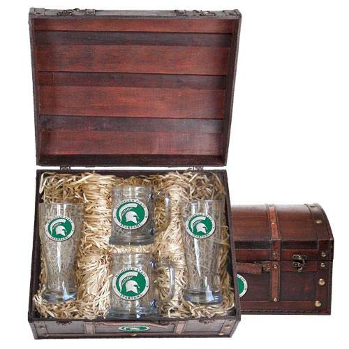 Michigan State University Beer Chest Set   Set of 4 Glasses with Keepsake Wooden Box   2-20oz Glass Pilsners   2-15oz Glass Steins   Detailed Fine Pewter Medallion
