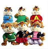 Auston ABEL 25cm 6pcs Plush Toy Movie Alvin and The Chipmunks Plush Dolls Anime Cute Animals Stuffed Toys Children Kids Gift