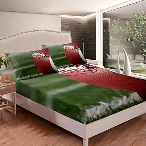 Set di biancheria da letto, con a sfera 3D, lenzuolo con angoli per giocare a football americano, giochi competitivi, per la stanza, 3 pezzi