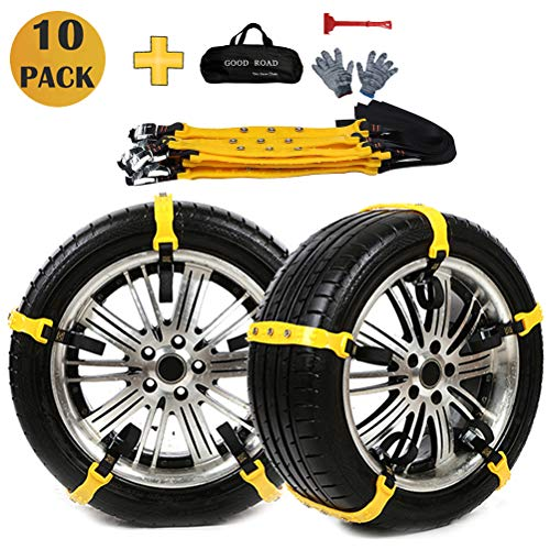 Tire Snow Chains, Emergency Snow Chains for Car/Suvs/Trucks/Pickups, Adjustable Tire Chain, 10 Pack