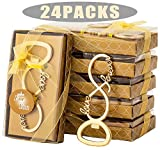 24 Pcs Love forever Design Bottle Openers for Wedding Bridal Shower Decorations Gifts Favors Souvenirs for Guests Love Forever Anniversary with Individual Gift Package (gold)