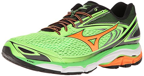 Mizuno Men's Wave Inspire 13 Running Shoe, Green Flash/Clownfish, 7 D US