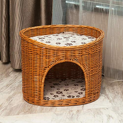 Pet Supplieskennel Rotan Rotan Geweven Cat Wicker Kennel Pet Nest Zomer Vier seizoenen Universeel Wasbaar Groot