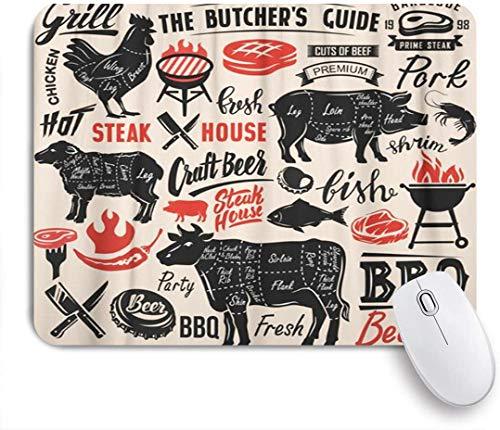 Benutzerdefiniertes Büro Mauspad,Black Beef Meat Steak mit Schema Schriftzug Cut Pig BBQ Grill Food Pork,Anti-slip Rubber Base Gaming Mouse Pad Mat