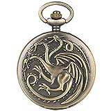 Reloj de bolsillo de cuarzo con diseño de dragón ardiente, esfera blanca grande