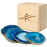 Brazilian Blue Agate Coasters   Natural Geode Stone Coasters   4-Pack Drink Coasters   Agate Slices in Wooden Gift Box  Random Size 3.5 ~ 4' with Gold Rim and Protective Bumpers   by Simply Salubrious