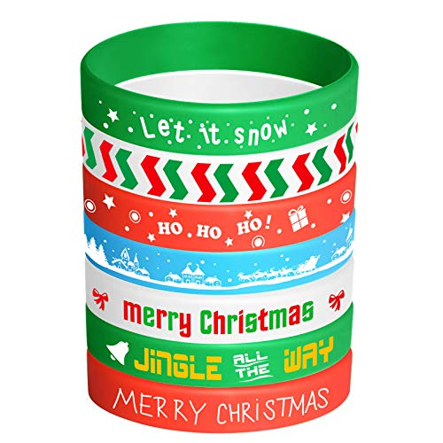 FEPITO 35 Pieces Christmas Wristband Silicone Wristbands Rubber Band Bracelets for Christmas Party Decoration Supplies 7 Merry Xmas Patterns