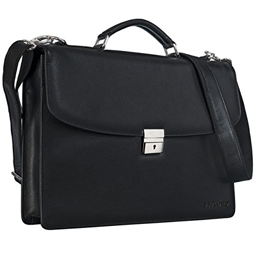 STILORD 'Jonathan' Elegante Aktentasche Klassische Büro Business Schultertasche groß 15,6 Zoll mit Schloss Rinds Leder schwarz
