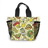 Melon Juice And Sandwich Damen Mode Tasche Wiederverwendbare Einkaufstaschen Licht Handtaschen Hohe Kapazität Geschenktüten Lebensmittelbeutel