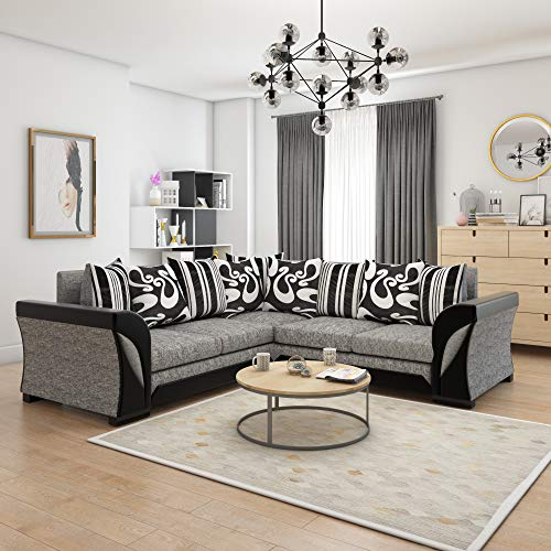 Panana 4 Seater Sofa L Shaped Corner Sofa Linen Fabric Sofa Settee Couch for Living Room Lounge Office Modern Group Sofa with Upholstered Cushions (Black)