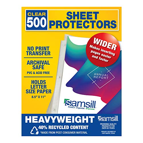 Samsill Recycled 500 Heavyweight Sheet Protectors, Clear Page Protectors for 3 Ring Binder, 3.3 MIL Thick Top Loading Document Protectors, Holds 10+ Sheets, Archival Safe/Acid Free, Bulk Pack of 500